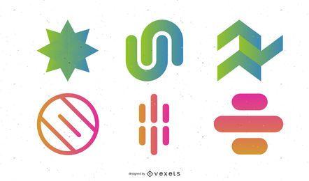 Conjunto de vectores de elementos de diseño abstracto colorido