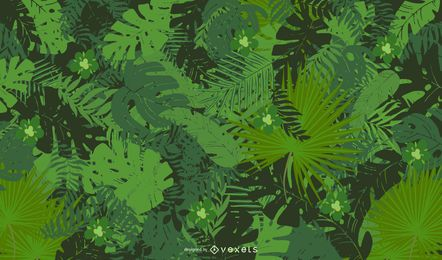 Abstract Floral Green Background Vector Illustration