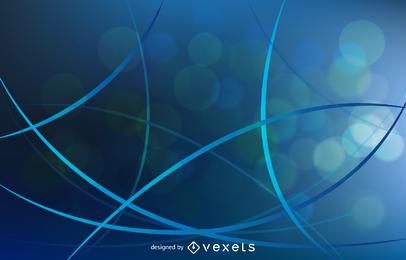 Fundo abstrato com ilustração vetorial de curvas azuis