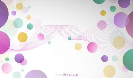 Fundo de linha de onda abstrata círculo colorido