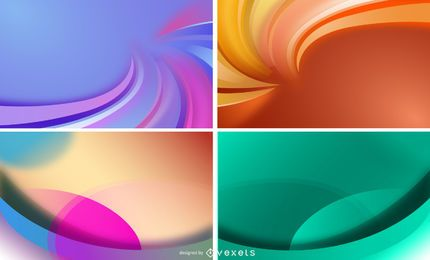 4 cores abstratas ondas de fundo Vector Set