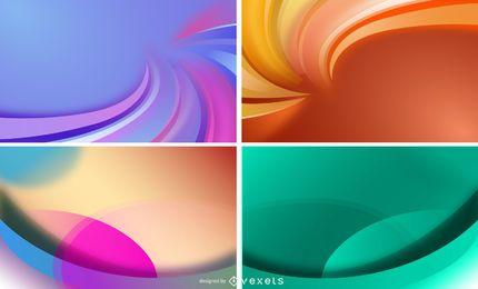 4 Farbzusammenfassung bewegt Hintergrund-Vektor-Satz wellenartig