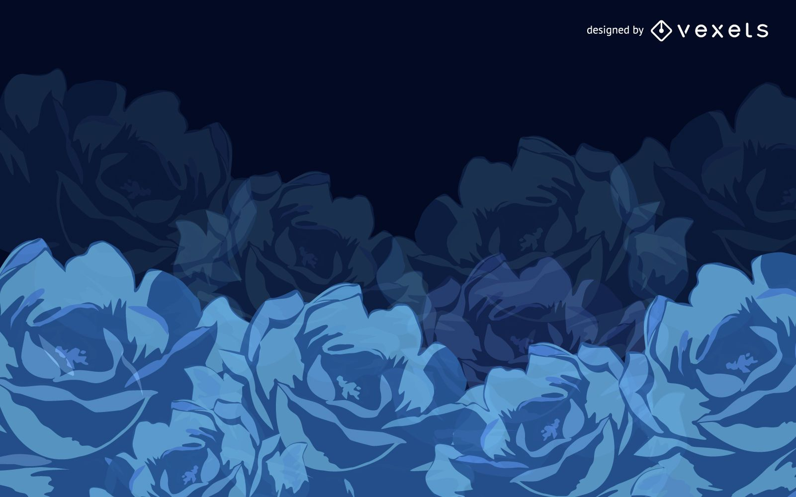 Abstract Floral Blue Background Vector Graphic