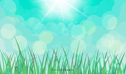 Fundo verde Natural de vetor com sol e grama abstrata