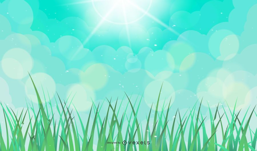 Vector Natural Green Background with Sun and Abstract Grass