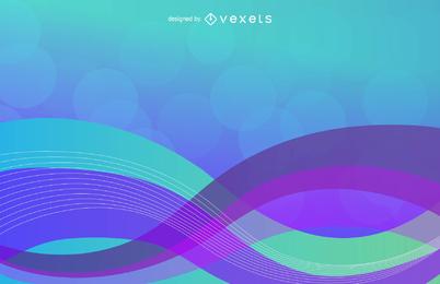 Fundo colorido abstrato com ilustração vetorial de onda