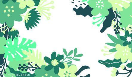 Ilustración de vector de diseño floral verde abstracto