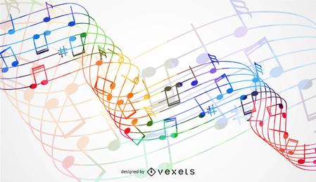 Abstrakte Regenbogen-Welle mit Musik-Knoten-Hintergrund