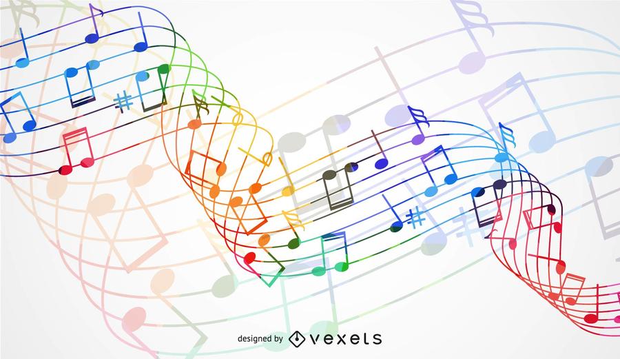 Onda de arco-íris abstrata com fundo de nó de música