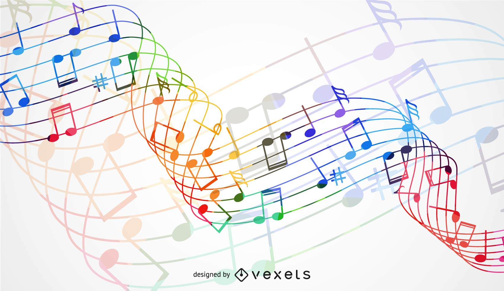 Abstract Rainbow Wave with Music Node Background
