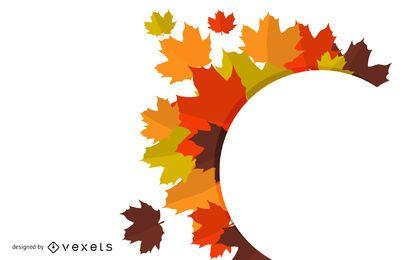 Fall Leaves Circle Banner Design