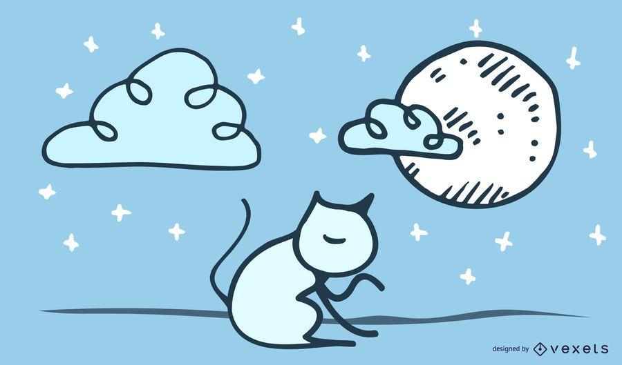 Ilustración de gato con garabatos y texto