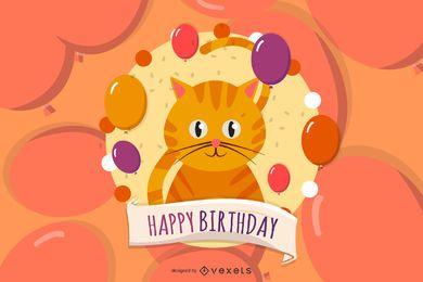 Feliz aniversário, cartão, com, gatos