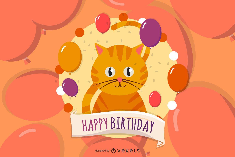 Happy Birthday Cat Card Illustration