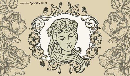 Vintage ilustraciones de dama y flores