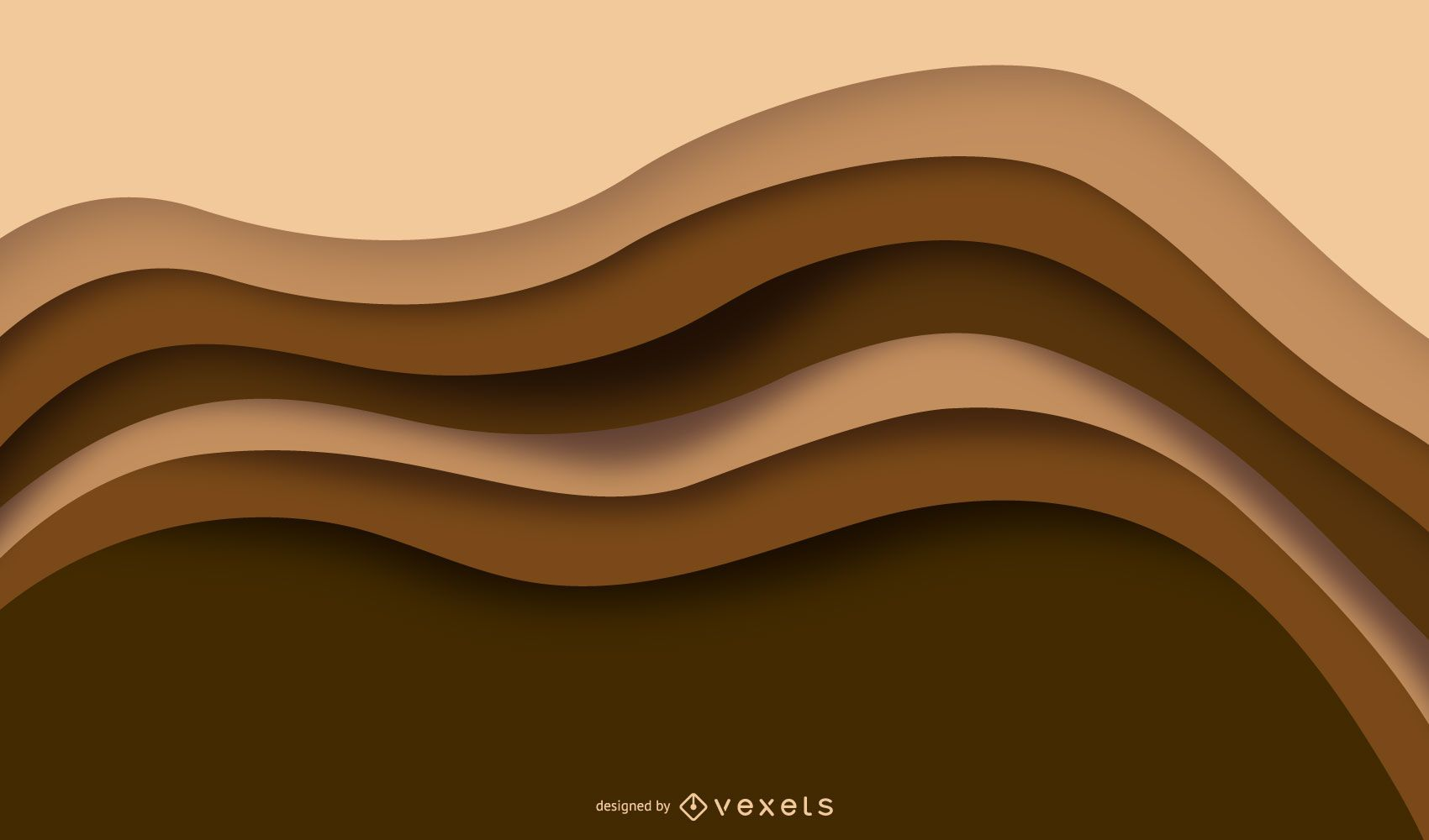 Brown Layer Waves Background