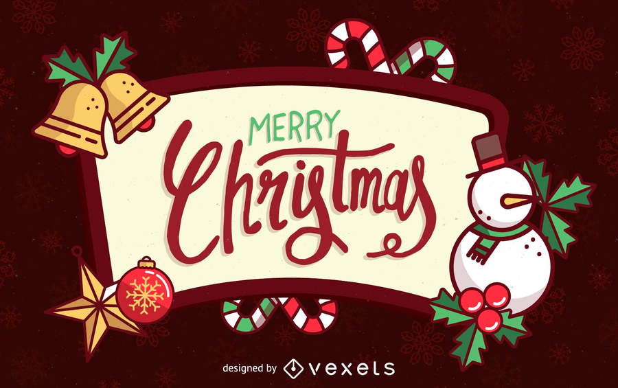 Christmas frame background with snowman