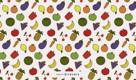 Padrão de frutas e legumes