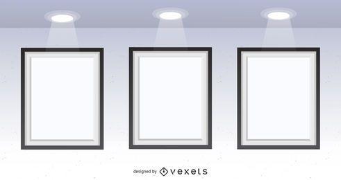 Galería de 3 cuadros maqueta