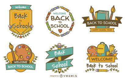 De volta à escola set emblema etiqueta