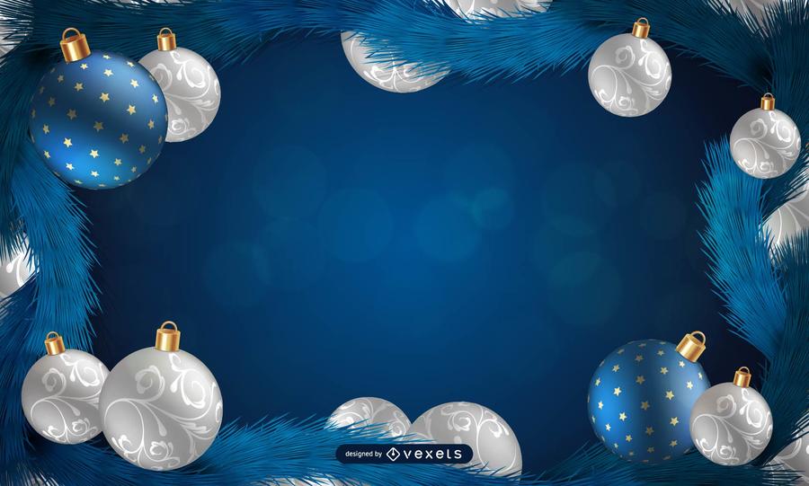 Moldura de Natal azul com flocos de neve