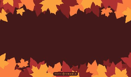 Ilustración de hojas de otoño con texto