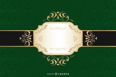 Rótulo de bandeira de ouro verde de luxo