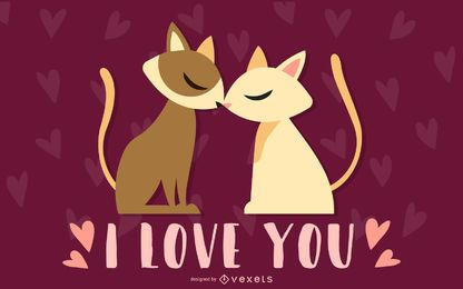 Valentine's Day cartoon cat design