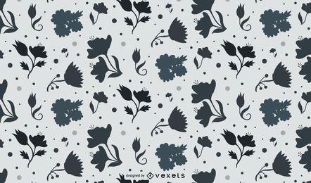 Illustrated flowers b&w pattern design