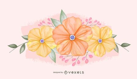 Flores en colores pastel ilustradas