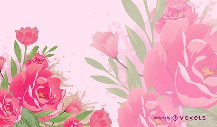 Pink flowers illustration backdrop