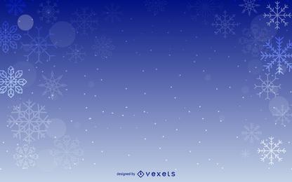 Diseño de fondo azul copos de nieve
