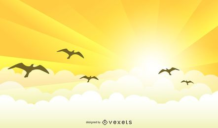 Yellow sunrise landscape with birds