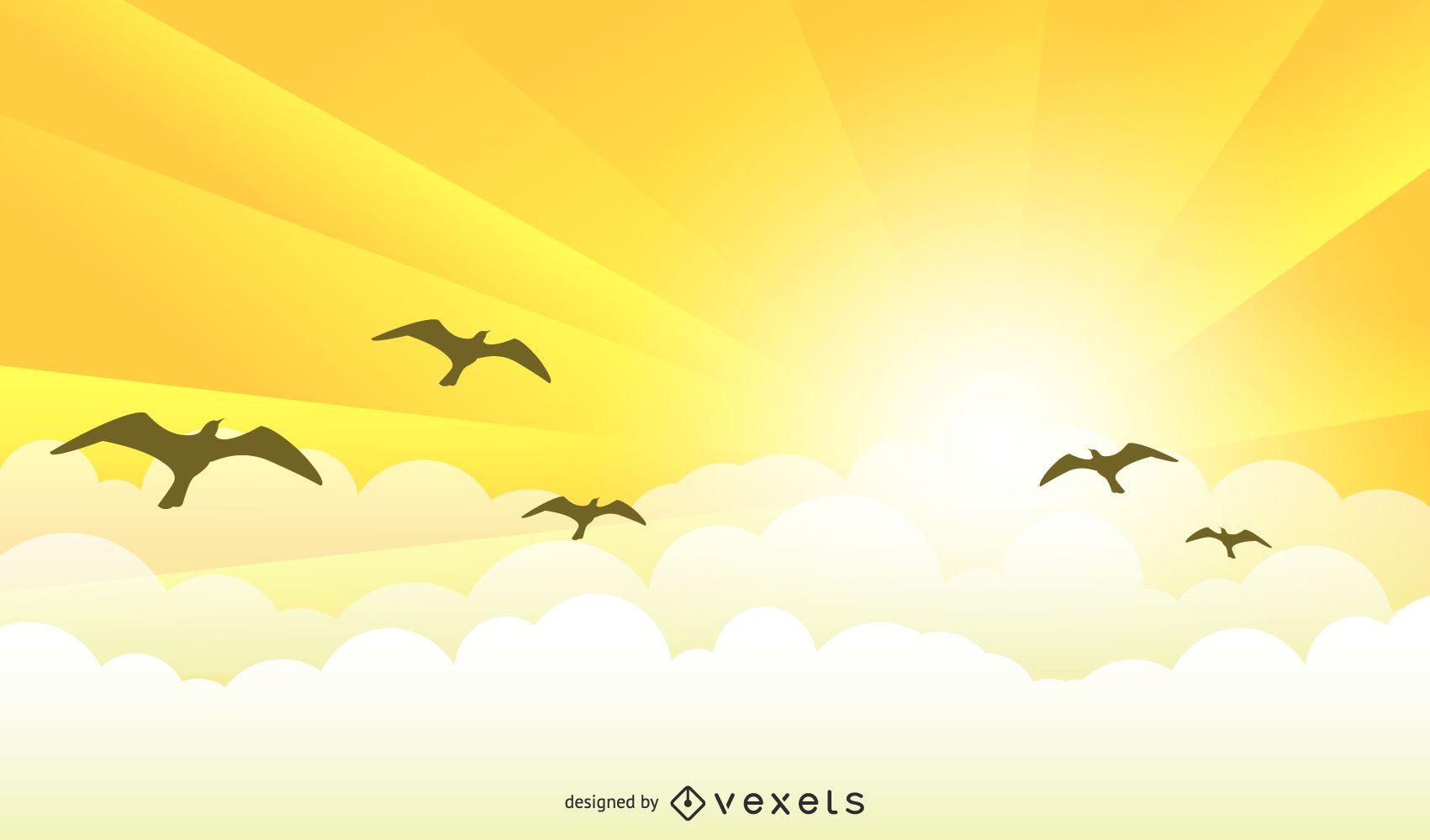 Yellow sunrise landscape with birds