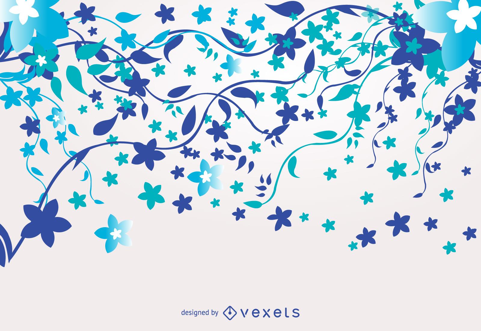 Blue Floral Background Vector Download