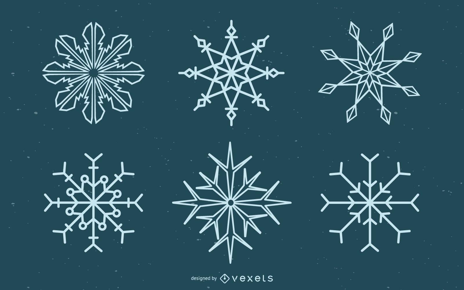 Paquete de ilustración de diseño de copo de nieve