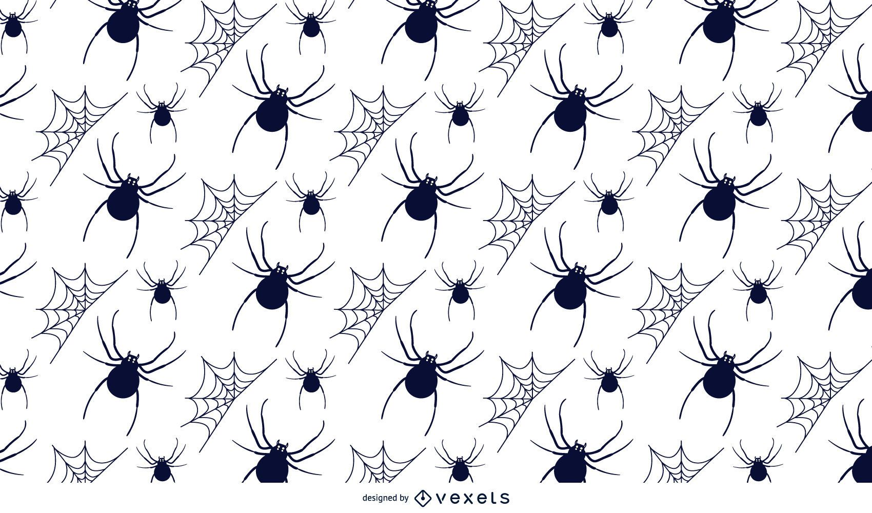 Spiders and webs Halloween illustrated pattern
