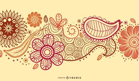 Drawn paisley design with flowers