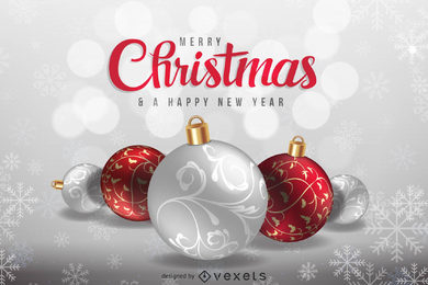 Christmas greeting card or background in silver and red