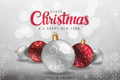 Tarjeta de felicitación navideña o fondo en plata y rojo.