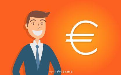 Homem negócio, com, sinal euro