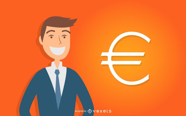 Hombre de negocios con el símbolo del euro