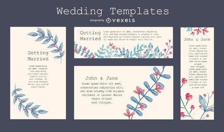 Plantilla de invitación de boda florida