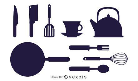 Vector de electrodomésticos de cocina siluetas