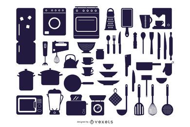 Vector Kitchen Appliances Silhouettes