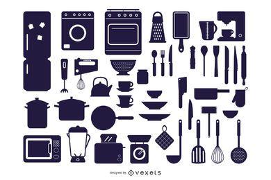 Vector siluetas de electrodomésticos de cocina