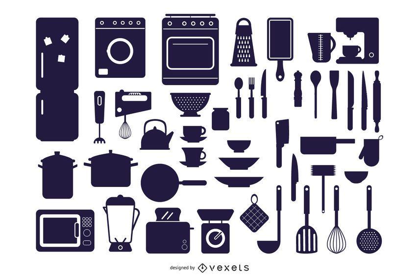 Vector Kitchen Appliances Silhouettes