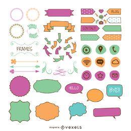 Pastell Elemente Sammlung