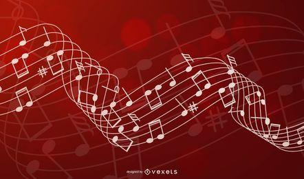 Fundo musical stave em vermelho