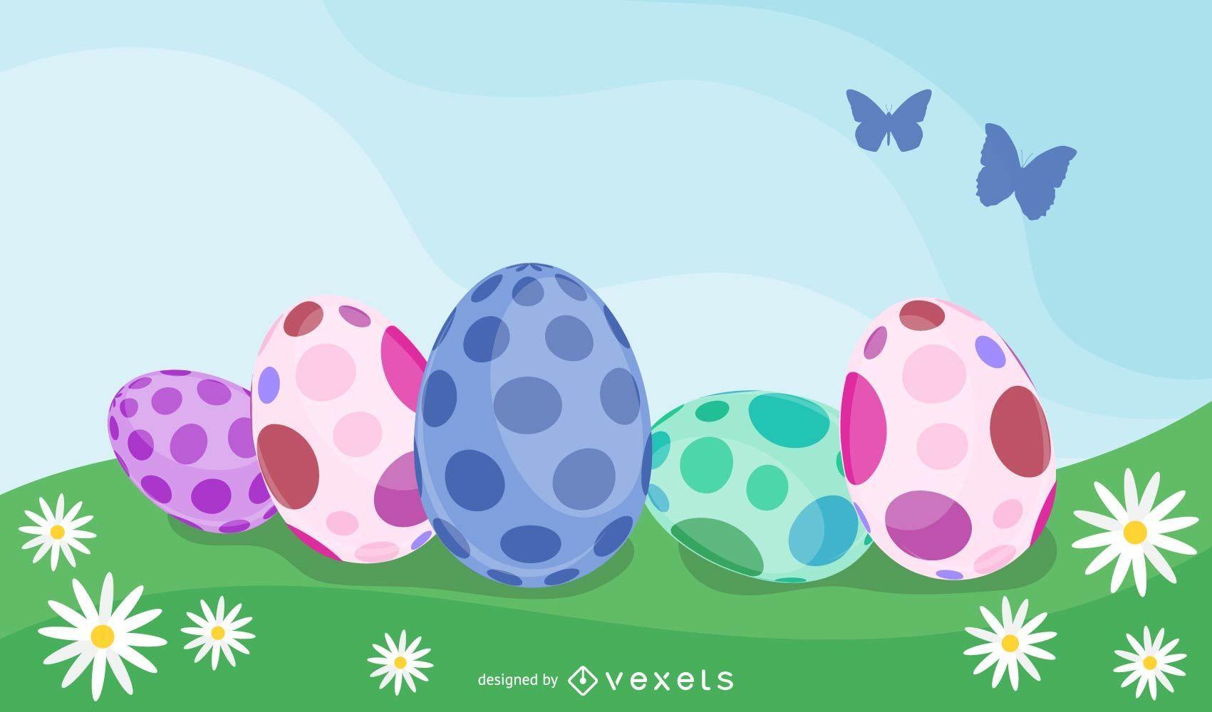 Diseño de fondo de huevos de Pascua